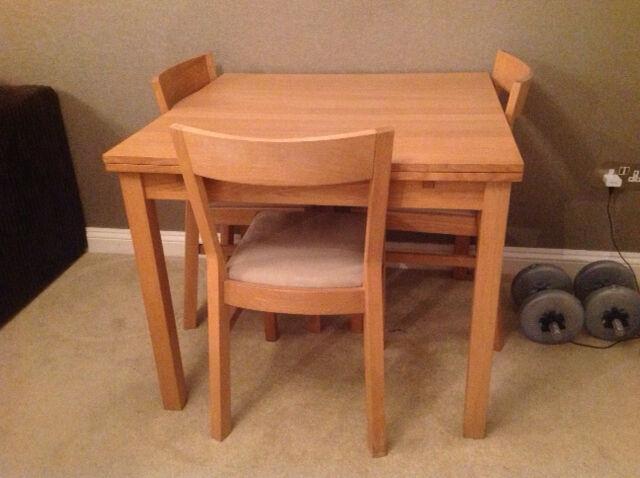Ikea Bjursta Oak Veneer Dining Table 4 6 Seater With 4