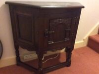 OLD CHARM TUDOR OAK CANTED CABINET PHONE TABLE SIDEBOARD
