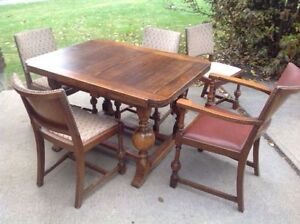 Antique Draw Leaf Table and Chairs