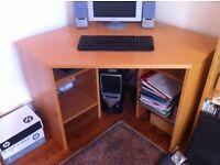 Light oak corner desk