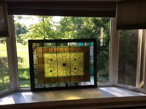 MAGNIFICENT AMERICAN STAINED GLASS WINDOW 1930'S 51 BY 43