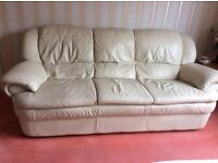 Leather 3 Seater Sofa + 2 Chairs