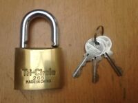 New and Unused Brand New Tri-Circle 50mm Solid Brass Padlock - with 3 Keys - Collect Guildford GU1