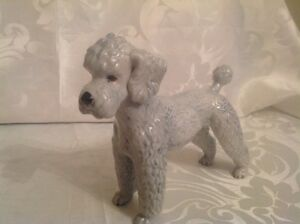 "1970's Goebel Grey Poodle Figurine 7"" tall"
