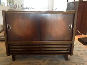 Vintage Mid Century NorMende Console with Turn Table and Radio