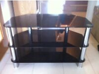 Glass TV Stand with 3 Tiers