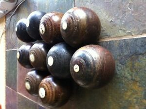 Antique Lawn Bowling Balls Set of 10