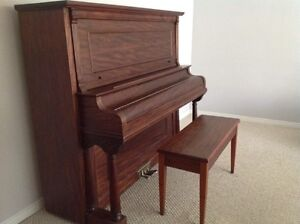FREE GRAND PIANO & BENCH, good condition, wooden, ivory keys