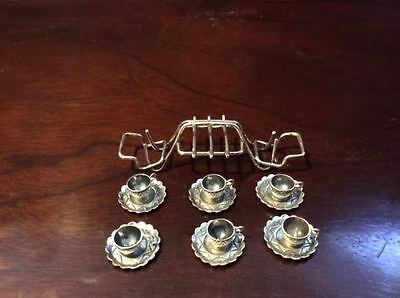 Miniature Set of Six Cups & Saucers w/ Rack – Unmarked Sterling – 3″ x 1″ Petite