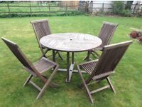 Solid Teak Table and 4 Chairs - Very Good Condition