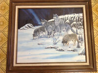 Signed W Miller oil painting wolves framed nice only 55 dollars