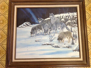 Signed W Miller oil painting wolves framed nice only 55 dollars Kitchener / Waterloo Kitchener Area image 1