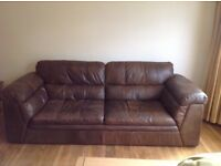 Pair of real leather sofas
