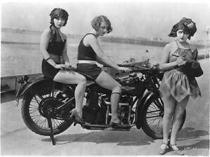 Excelsior Henderson Motorcycle photot Mack Sennett Girls Vintage 1920   8 X 10