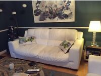 White leather sofa's