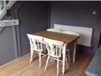 Beautiful Solid Pine Dining Table & Chairs with Cutlery Drawer
