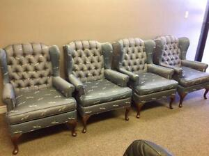 TALL BACK BLUE CUSHIONED CHAIRS (4)