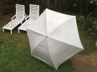 2 WHITE LOUNGES+ GREY PATIO SET WITH 4 CHAIRS+2 UMBRELLAS