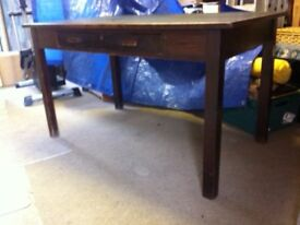 Leather inlay table, about 1950's vintage, solid wood with drawer - make me an offer
