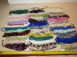 60 plus necklaces - bead, pearl, she'll, jade, glass Cambridge Kitchener Area image 1