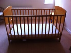 Two OBaby cot beds for sale lasts to age 0-5, excellent condition, incl mattress, walnut colour wood