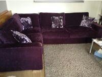 Corner Sofa Bed in velvet aubergine fabric