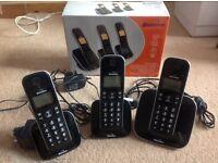 BINATONE FUSION 2815 DIGITAL CORDLESS ANSWER PHONE- TRIPLE PACK. Hands-free speakerphone.
