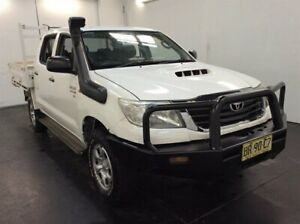 2012 Toyota Hilux KUN26R MY12 SR (4x4) White 5 Speed Manual Dual Cab Chassis Cardiff Lake Macquarie Area Preview