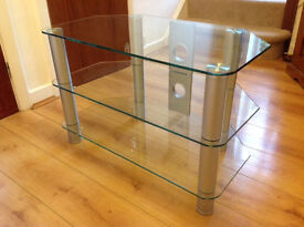 Glass & Brushed Chrome TV Stand