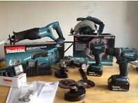 new makita 18v LXT complete set: skill saw + grinder + sander+combidrill+impact+lamp+2x4ah+charger