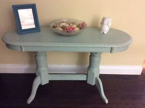 Sage Green Entrance/Sofa back Table Solid OAK double Pedestal