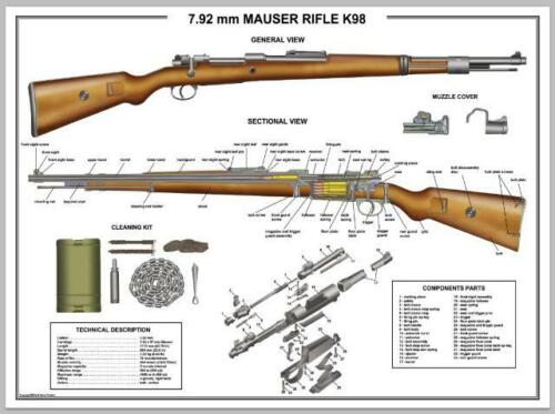 """Poster 18""""x24"""" MAUSER K98 Rifle Manual Exploded Parts Diagram D-Day Battle WW2"""