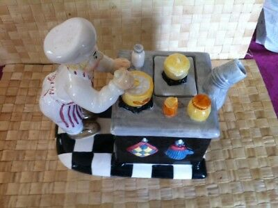 Cute  Ceramic Tea Pot with  chef,  Stove Oven and accessories