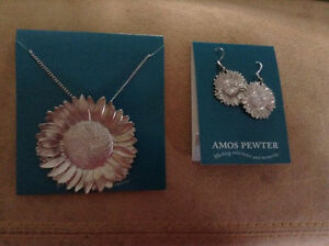 Amos Pewter NEW Sunflower necklace and earings