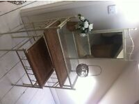 Vintage dressing table, dressing table stool, with two bedside tables -