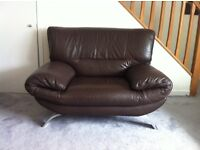 Italian brown leather suite for sale