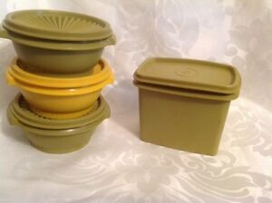 Vintage 1970's Green & Yellow Tupperware storage Containers