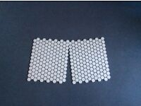 Porcelain floor / wall tiles ,honeycomb design, matt white. Surplus to requirement.