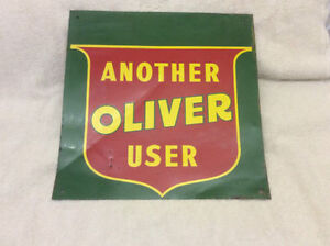 "Antique original gateway tin sign - ""ANOTHER OLIVER USER"" !"