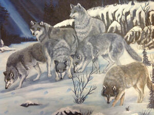 Signed W Miller oil painting wolves framed nice only 55 dollars Kitchener / Waterloo Kitchener Area image 3