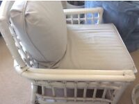 White Shabby Chic heavy duty Rattan Arm chairs with grey cushions £25 each