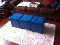 Three Storage Ottomans