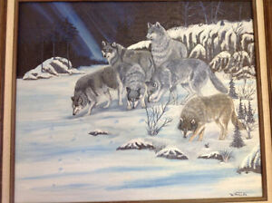 Signed W Miller oil painting wolves framed nice only 55 dollars Kitchener / Waterloo Kitchener Area image 4
