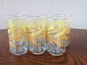 Vintage Set of 7 Libby Yellow Wheat Glasses