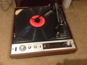 Vintage record player and stereo