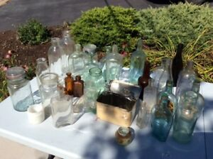 20+ antique Bottles/jars. some excavated from 180 yr old farm