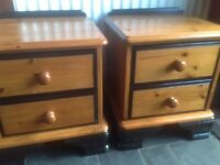 pine drawers, used but with newly painted black gloss detail