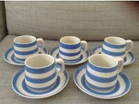 TG Green China - 5 x tea cups and saucers