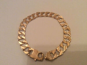 Mens 10K Yellow Gold Square Curb Link Diamond Brushed Bracelet