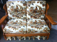 Wood love seat for sale